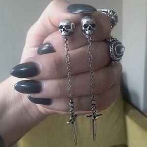 Souvenir Jewelry Skull and Dagger Earrings
